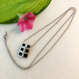 Jewelry - Black and Sterling Silver Pendant Necklace